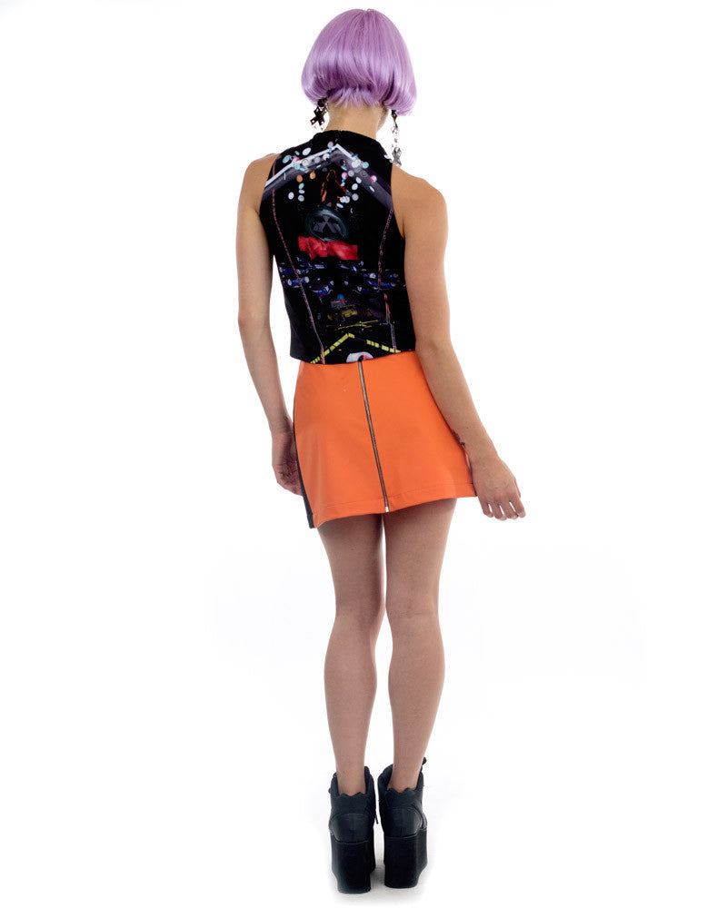 ORANGE RUBBER MINI SKIRT - Eros Mortis