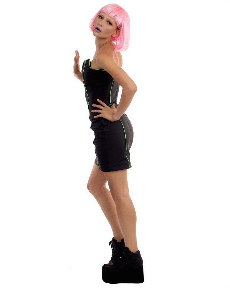 BLACK RUBBER BOXY MINI DRESS - Eros Mortis