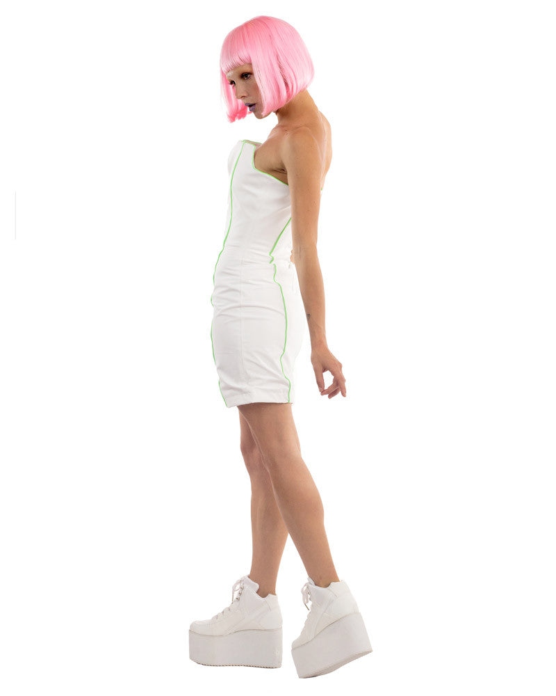 WHITE RUBBER BOXY MINI DRESS