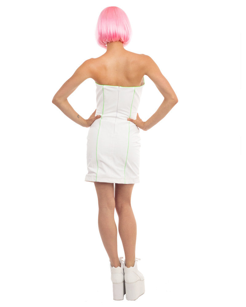 WHITE RUBBER BOXY MINI DRESS - Eros Mortis