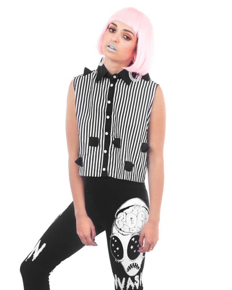 SPIKES CROPPED SHIRT - Eros Mortis