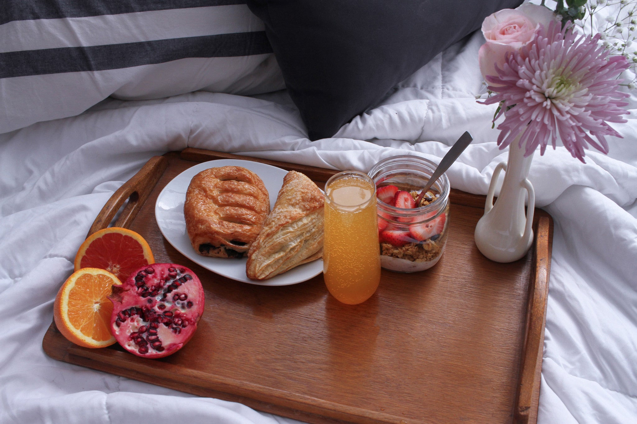 Mother's Day Mimosa, Breakfast in bed, Mimosa in bed, breakfast platter, plastic drinkware