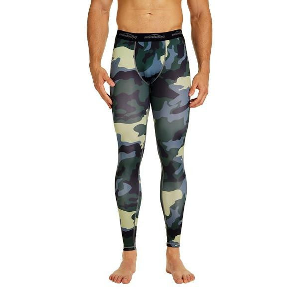 COOLOMG Compression Pants GYM Running Tights Length Pants Leggings For Men Youth Boy Green  Camo