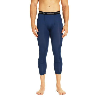 COOLOMG Dark Blue 3/4 Compression Tights Capri Running Pants Leggings Quick Dry For Men Youth Boy