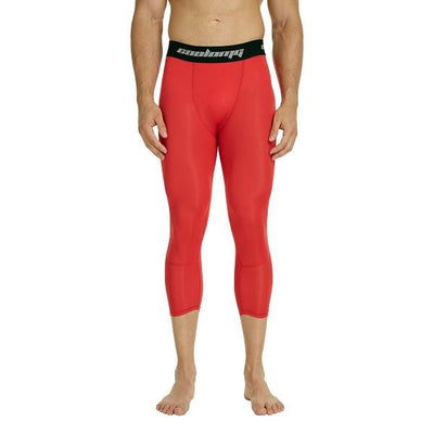 COOLOMG RED 3/4 Compression Tights Capri Running Pants Leggings Quick Dry For Men Youth Boy