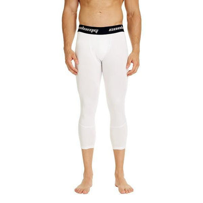 White Men's Compression Running 3/4 Tights Capri Pants