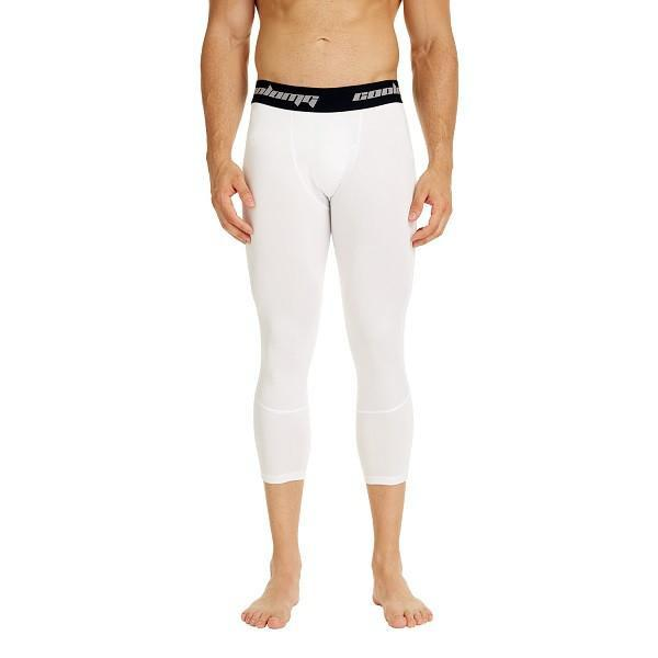 COOLOMG Compression Pants Running Tights Leggings For Men Youth Boy White