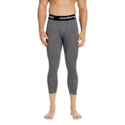 COOLOMG Heather Grey 3/4 Compression Tights Capri Running Pants Leggings Quick Dry For Men Youth Boy