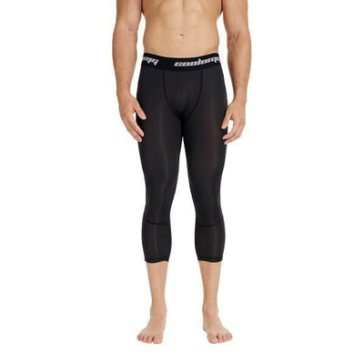 Black Men's Compression Running 3/4 Tights Capri Pants