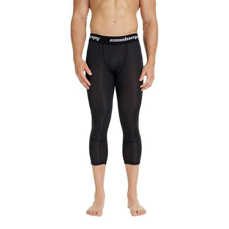 COOLOMG Compression Running 3/4 Tights Capri Pants Leggings Quick Dry For Men Youth Boy Black