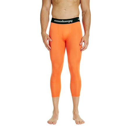 COOLOMG Orange 3/4 Compression Tights Capri Running Pants Leggings Quick Dry For Men Youth Boy