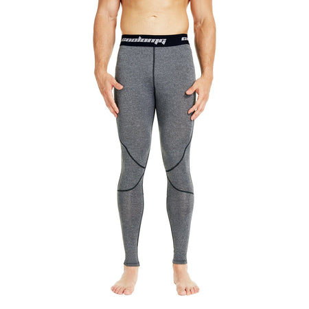 COOLOMG Compression Pants GYM Running Tights Length Pants Leggings For Men Youth Boy Gray