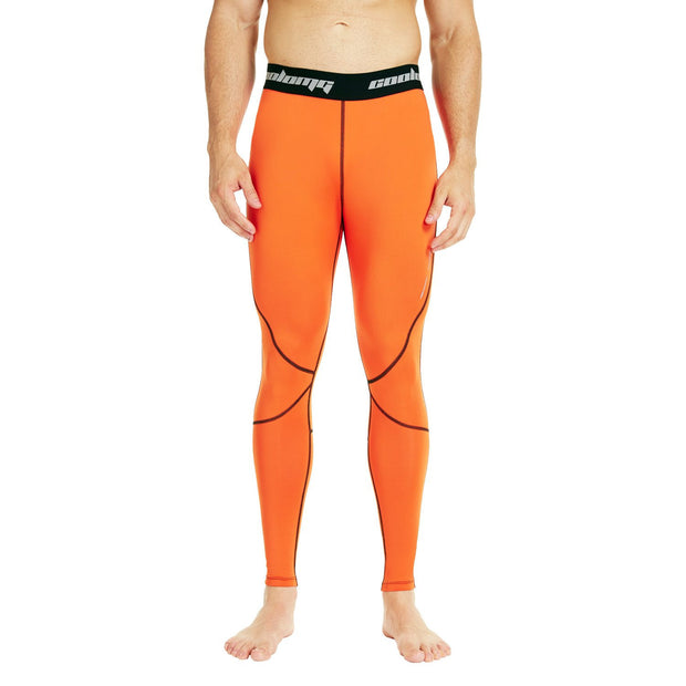COOLOMG Compression Pants GYM Running Tights Length Pants Leggings For Men Youth Boy Orange