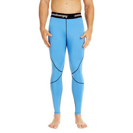 COOLOMG Compression Pants GYM Running Tights Length Pants Leggings For Men Youth Boy Light Blue