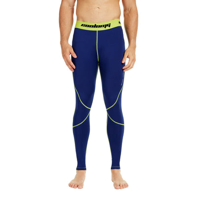 COOLOMG Compression Pants GYM Running Tights Length Pants Leggings For Men Youth Boy Navy