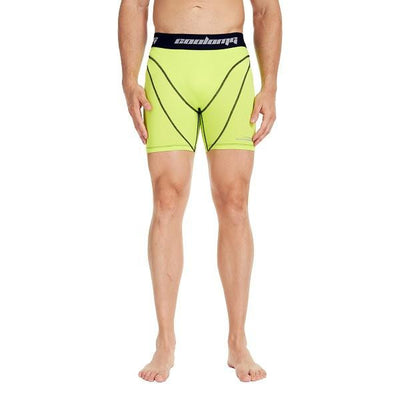 COOLOMG Men's Training Shorts Compression Underwear Fitness Pants Gym Yellow