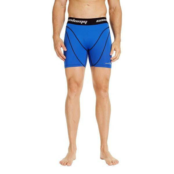 COOLOMG Men's Training Shorts Compression Underwear Fitness Pants Gym Blue