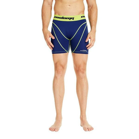COOLOMG Men's Training Shorts Compression Underwear Fitness Pants Gym Navy&Yellow