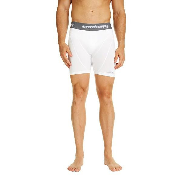 COOLOMG Men's Training Shorts Compression Underwear Fitness Pants Gym White