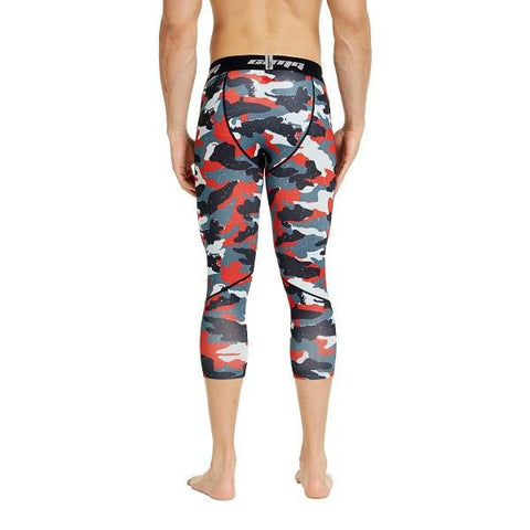 COOLOMG  Red Camo Compression Running 3/4 Tights Capri Pants Leggings Quick Dry For Men Youth Boy