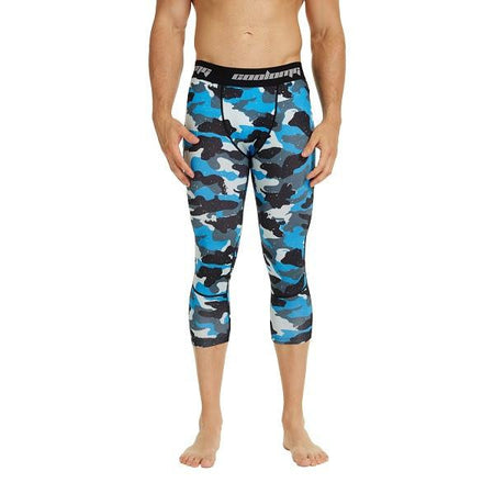 COOLOMG Blue Camo Compression Running 3/4 Tights Capri Pants Leggings Quick Dry For Men Youth Boy