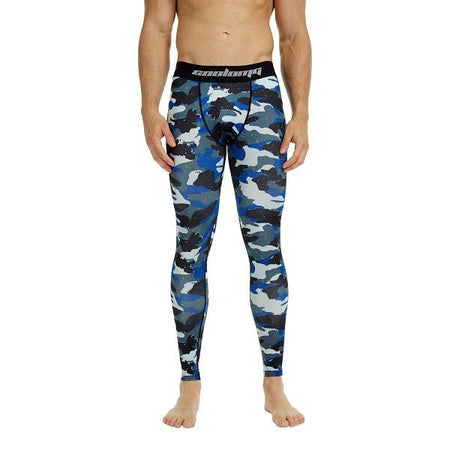 COOLOMG Navy Camon Compression Pants Running Tights Length Pants For Men Youth Boy