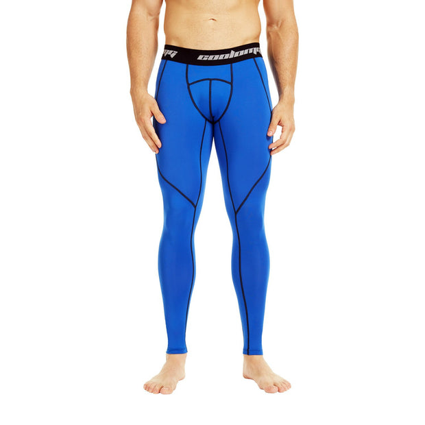 COOLOMG Compression Pants GYM Running Tights Length Pants Leggings For Men Youth Boy Blue