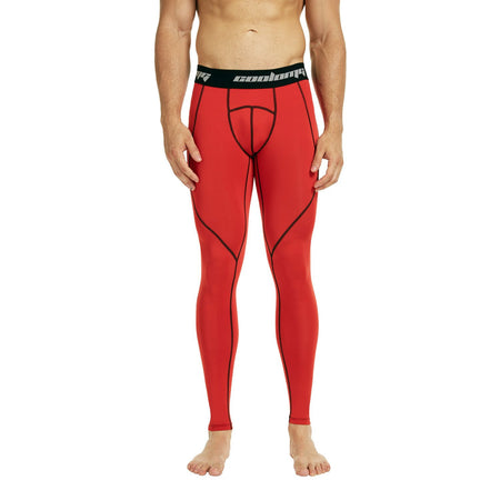 COOLOMG Compression Pants GYM Running Tights Length Pants Leggings For Men Youth Boy Red