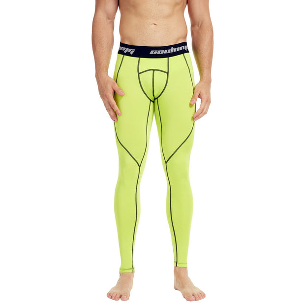 COOLOMG Compression Pants GYM Running Tights Length Pants Leggings For Men Youth Boy Yellow
