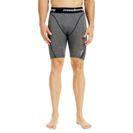 COOLOMG Men's Training Shorts Compression Underwear Fitness Pants Gym Gray
