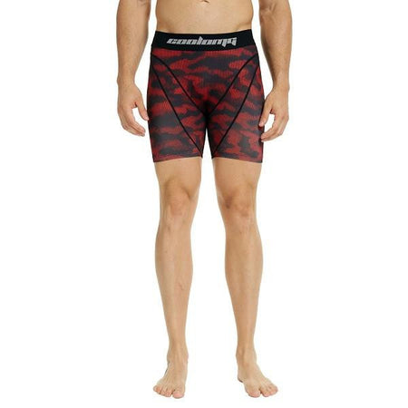 COOLOMG Men Training Shorts Compression Underwear Fitness Pants Gym Red Camon