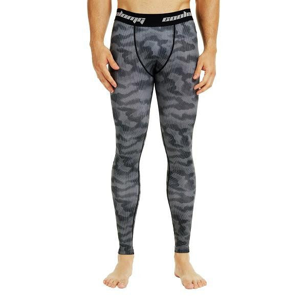 COOLOMG Black Camo Compression Pants Running Tights Length Pants For Men Youth Boy