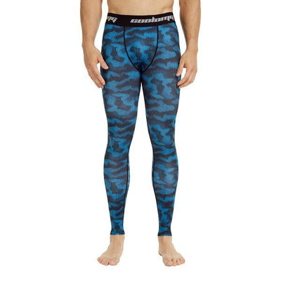 COOLOMG Light Blue Camo Compression Pants Running Tights Length Pants For Men Youth Boy