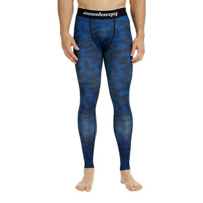 COOLOMG Deep Blue Camo Compression Pants Running Tights Length Pants For Men Youth Boy