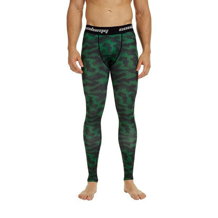 COOLOMG Green Camo Compression Pants Running Tights Length Pants For Men Youth Boy