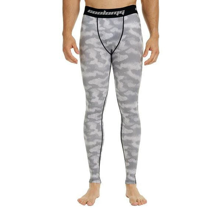COOLOMG Gray Camo Compression Pants Running Tights Length Pants For Men Youth Boy