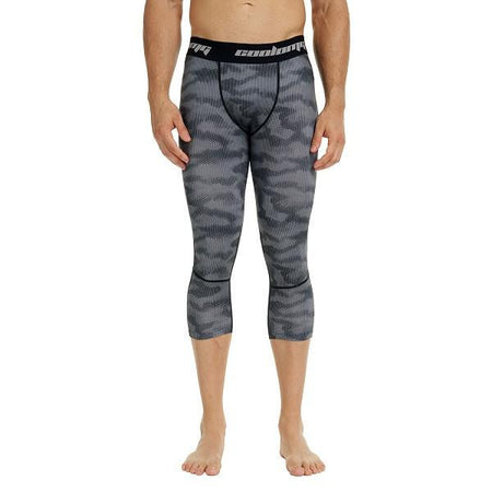 COOLOMG Gray Camo Compression Running 3/4 Tights Capri Pants Leggings Quick Dry For Men Youth Boy