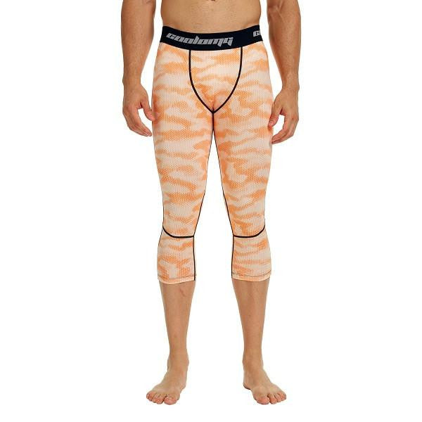 COOLOMG Orange Camo Compression Running 3/4 Tights Capri Pants Leggings Quick Dry For Men Youth Boy
