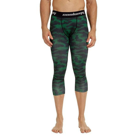 COOLOMG Green Camo Compression Running 3/4 Tights Capri Pants Leggings Quick Dry For Men Youth Boy