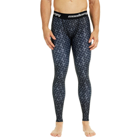 COOLOMG Compression Pants GYM Running Tights Length Pants Leggings For Men Youth Boy Black Grain