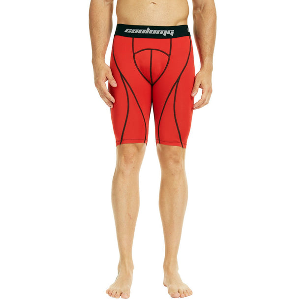 COOLOMG Men's Training Shorts Compression Underwear Fitness Pants Gym Red