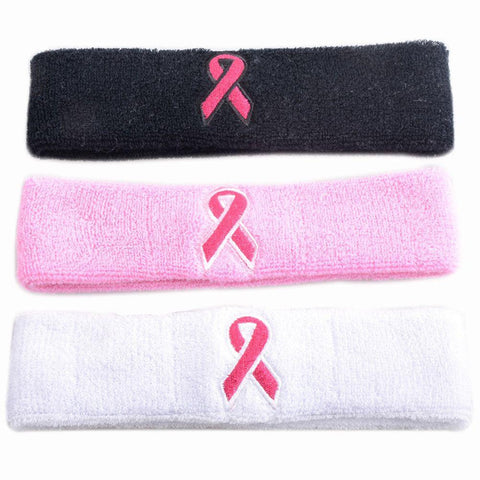 COOLOMG 1 Piece Stretchy Cotton Breast Cancer Awareness Pink Ribbon Headband Sports Yoga Running
