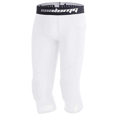 White Big Kids ¾ Length Compression Tight with Pads