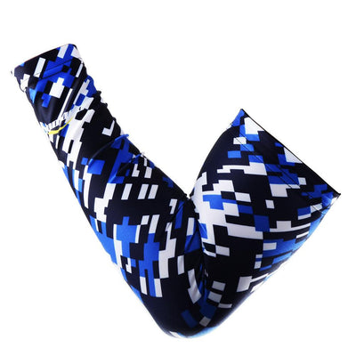 COOLOMG 1PCS Compression Arm Sleeve Digital Camouflage Blue Navy