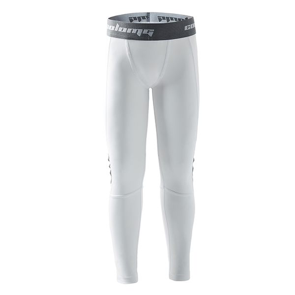 Boys White Basketball Running Tights