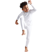 Boys & Girls White Thermal Compression Tops & Bottom Set