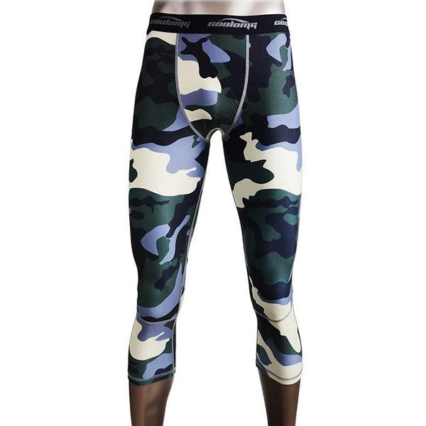 Camo Green Men Compression 3/4 Tights