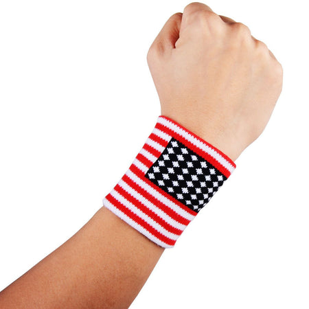 COOLOMG Cotton American Flag Wristbands (One Pair)