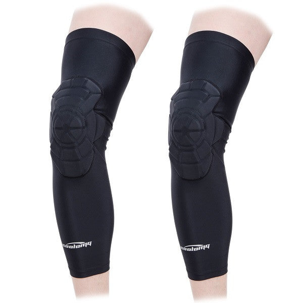 1 Pair Coolomg Adult Kids Anti-collision Pad Basketball Leg Knee Long Sleeve Protector Gear XS-XL