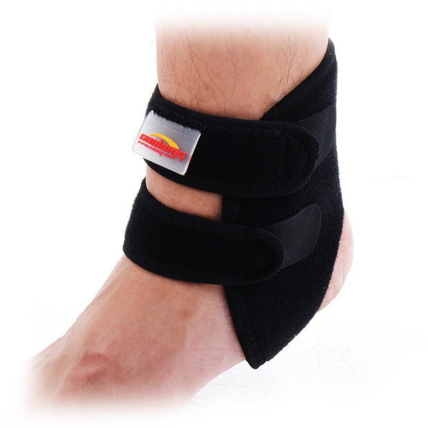 COOLOMG Black Neoprene Ankle Open Brace Support Pad Guard Achilles Tendon Sports Strap Foot